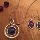 Jewelry Lot 2 Pairs Of Earrings 1 Necklace Purple & Silver Free Shipping Cute!