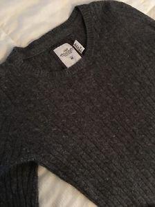 H&M LOGG Designer Women's Sz Medium Cable Knit Style Gray Wool Angora Sweater