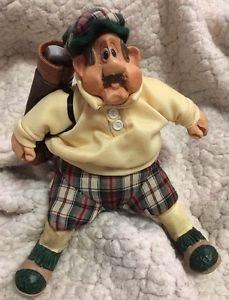 "Golfer ""Stew Mulligan"" #2904 Cloth & Resin 'Russ Berrie' Rare Collectible Cute!"