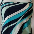 Hillard & hanson Women's Striped Shelf bra tankini top size small Pretty!
