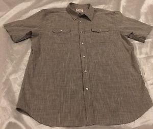 PD&C Authentic Apparel Men's Gray Short Sleeve Button Front Dress Shirt Sz XXL