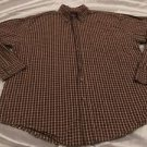 WRANGLER Cool River Cotton Brown Plaid Long Sleeve Button Front Shirt Sz Large