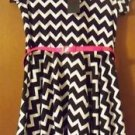 """One Step Up"" Girls Short Sleeve Chevron Dress + Pink Belt Sz Large 14/16 Retro"