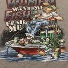 "Men's Gray Graphic Tshirt Sz XL ""Women Want Me Fish Fear Me"" Funny Humor Shirt"