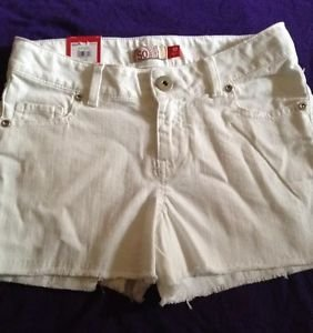 New SO Brand White Frayed Shorts Girls Size 10 Adjustable Waist Cute!