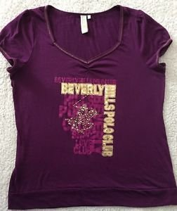 Beverly Hills Polo Club Graphic Top Purple & Gold Size Medium Free Shipping