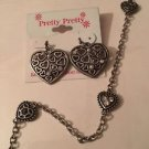 American Eagle Outfitters 18 Inch Chain Heart Necklace & Heart Dangle Earrings