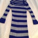 PINK ROSE Striped Long Sweater Girls Medium Bell Sleeves Blue & Gray Wide Collar