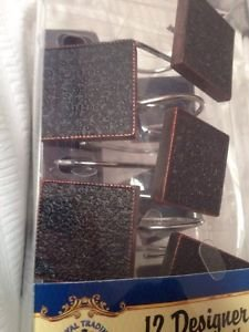 Royal Trading 12 Designer Shower Curtain Hooks Bronze & Black Elegant Squares