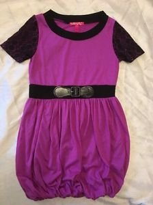 """Cherry Stix"" Brand Short Sleeve Casual Bubble Dress Sz Large 14/16 Purple Cute!"