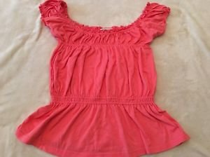 Energie Brand On/Off Shoulder Sleeveless Peasant Top Juniors Large Coral Pink