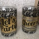 "TMD Holdings Set Of 2 Old Fashioned Drinking Glasses ""Lets Party"" ""Cheers"" 12 oz"