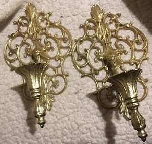 2 HEAVY CAST BRASS WALL SCONCES SINGLE ARM CANDLE HOLDERS SCROLL
