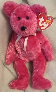 TY Beanie Babies 10 year SHERBET Raspberry pink bear Tag Error 2002/2003 Retired