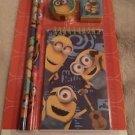 Minions 5 Piece Study Set Bob Kevin Stuart Pencils Memo Pad Eraser Sharpener