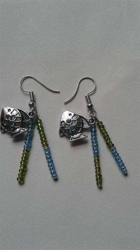 Beautiful  Women's Green and Blue Fish  Earrings