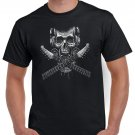 Heavy Metal Skull T-shirt Crossguitar Crossbones Headphones Cool Tshirt  Music FestivalTop Tee