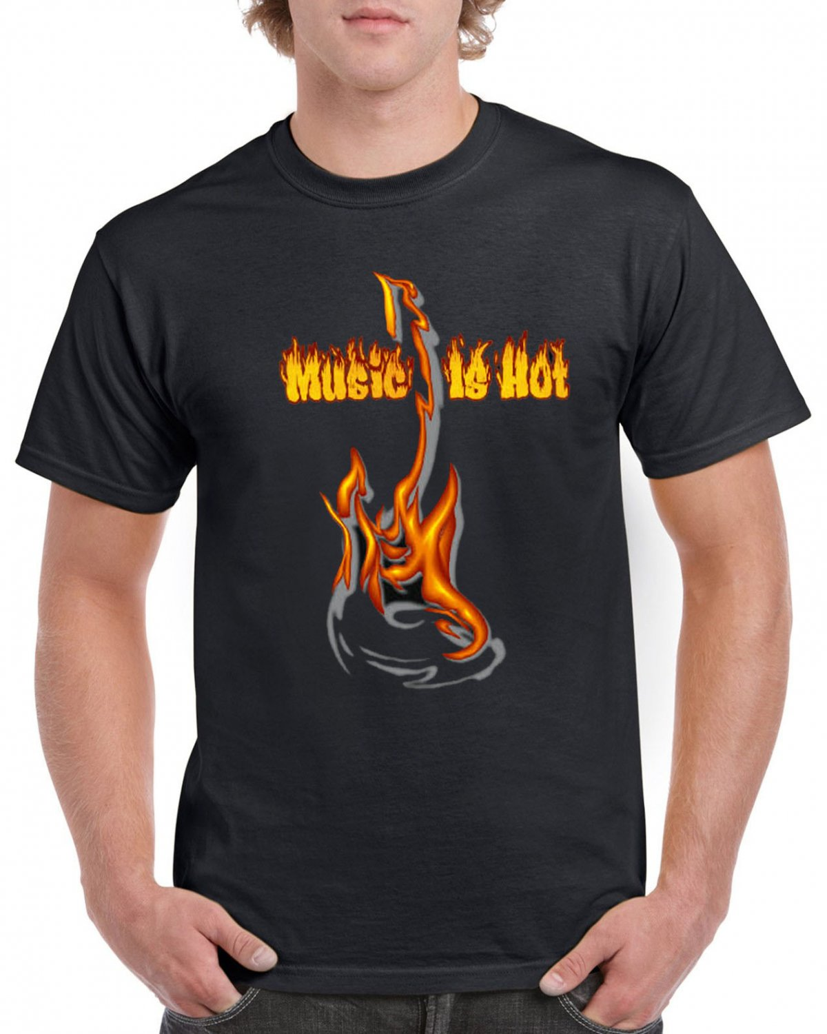 Music Is Hot T-shirt Guitar In Flames Rock Heavy Metal Tshirt Cool Festival Party Top Tee
