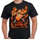 Skeleton Devil Flames Guitar T-shirt Heavy Metal Rock Tshirt Cool Festival Top Tee