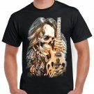 Skeleton Guitar T-shirt Heavy Metal Rock Cool Tshirt Festival Party Top Tee