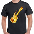 Guitar On Fire T-shirt Rock Heavy Metal Cool Tshirt Festival Top Tee
