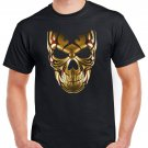 Heavy Metal Gold Skull Skeleton T-shirt Cool Tshirt Music Festival Top Tee