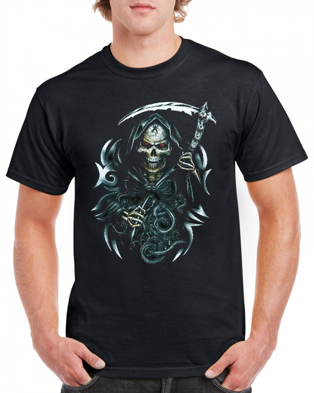 Heavy Metal Skull Sickle T-shirt Devil Cool Tshirt Music Festival Top Tee