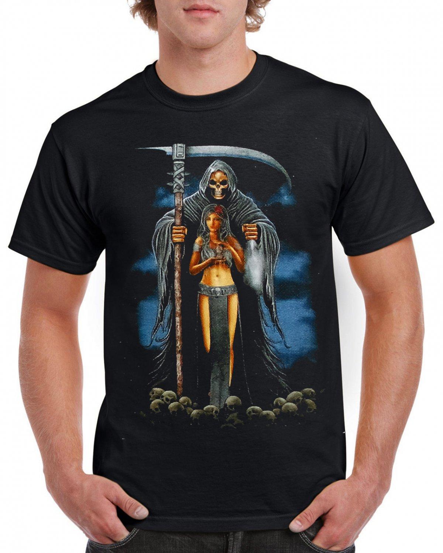 Skeleton Mummy Girl Sickle T-shirt Heavy Metal Rock Tshirt Cool Festival Top Tee