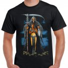 Skeleton Mummy Girl Sickle T-shirt Heavy Metal Rock Tshirt Cool Festival Top Tee