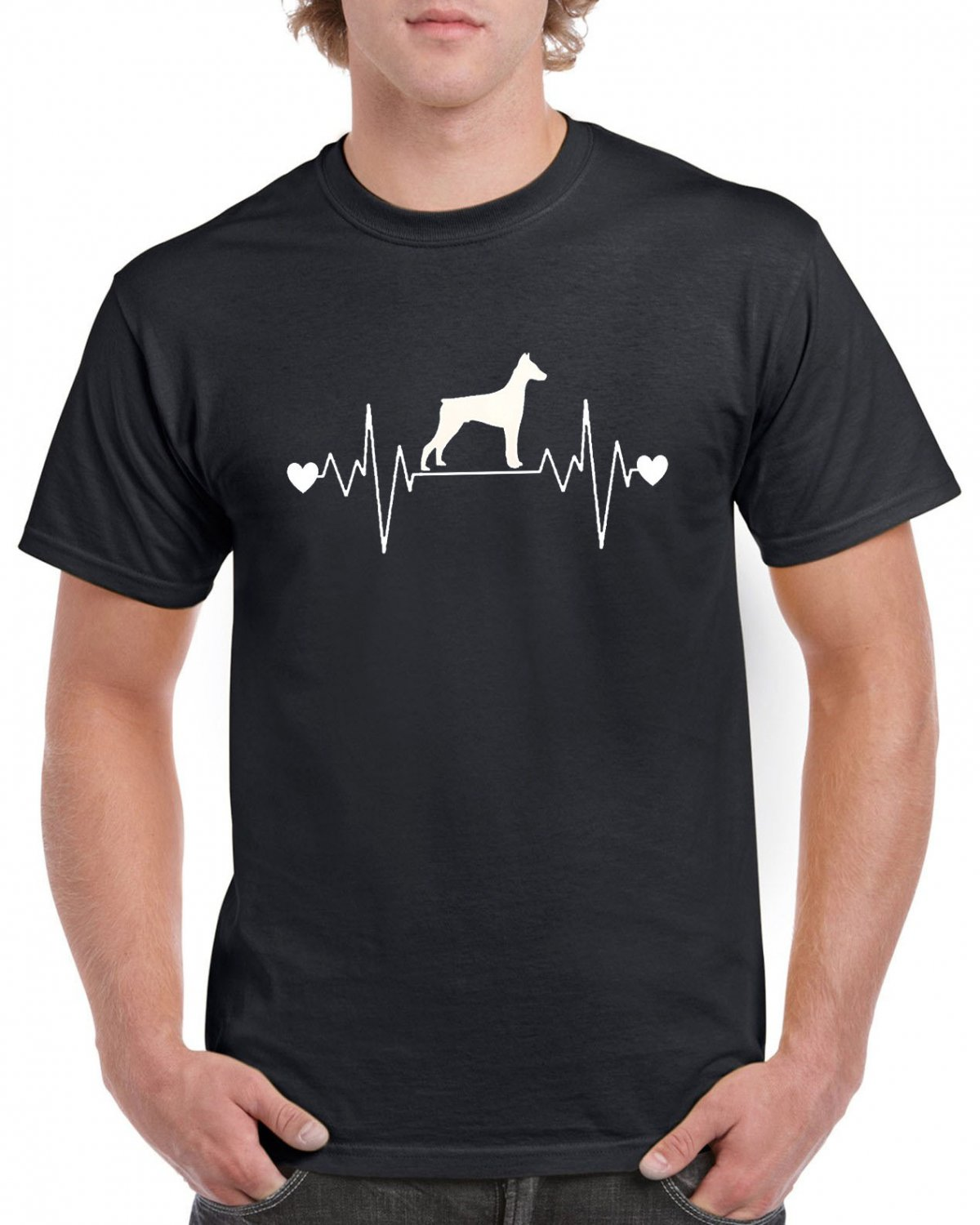 Doberman Pincher Dog Heart Pulse Rate T-shirt Dog Lovers Tshirt Cool Unisex Top Tee