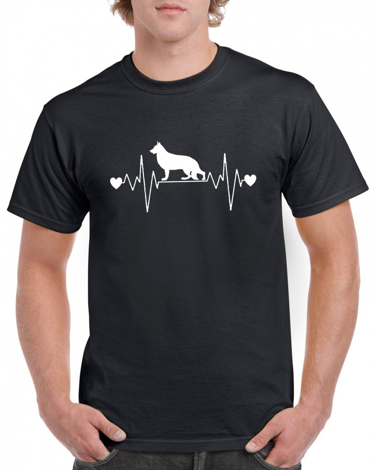 German Shepherd Heart Pulse Rate T-shirt Dog Lovers Tshirt Cool Unisex Top Tee