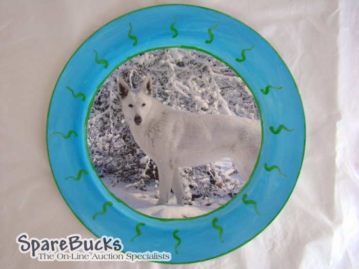 White German Shepherd Decoupage Plate Limited Edition