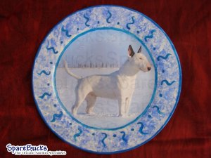 NEW Bull Terrier in the Snow Decoupage Plate OUR BEST SELLER