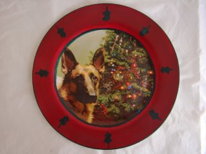 NEW Christmas German Shepherd Collectable Deoupage Plate LE
