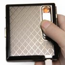 Lighter Cigarette case windproof electronic cigarette lighter silver metal Cigarette Box with r