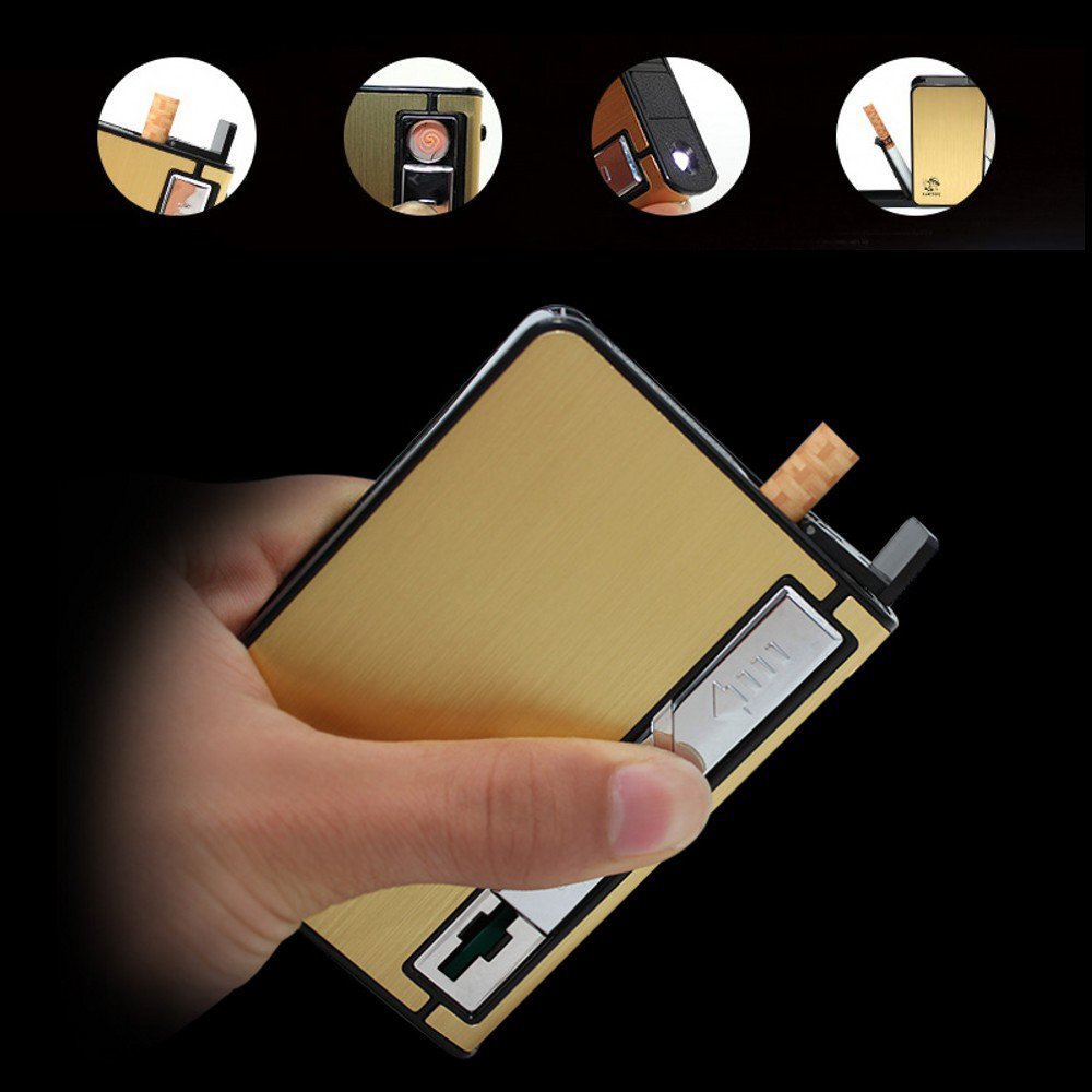 Automatically Ejection Metal cigarette case Box with lighter electronic windproof flameless rec