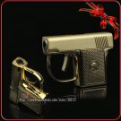 Mini Novelty Metal Pistol Jet Flame Windproof Cigarette Cigar Gun Lighter With Box BC63