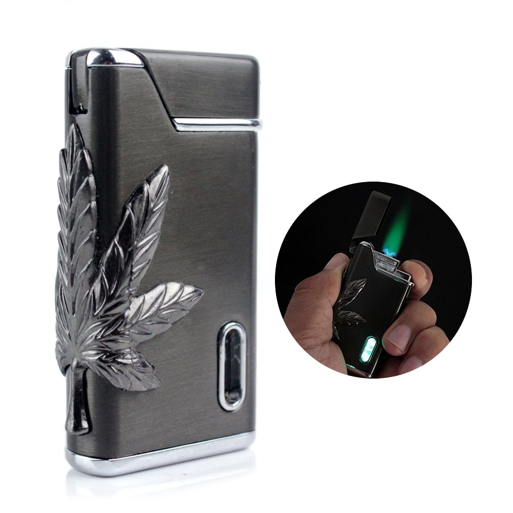 FIREBIRD Classic Leaf Flash Green LED Light Flame Cigarette Jet Windproof Lighter BC86