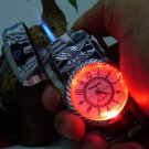 2 in one watch elektronik green fire flame windproof  lighter with led light for cigarette whol