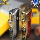 COHIBA brand metal 3 jet windproof Men's cigar gas Lighter,Portable refillable Butane torch