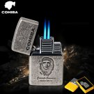 COHIBA metal gas cigar lighters, 2 jet turbo Windproof inflatable lighter,Cuba Che Guevara akma