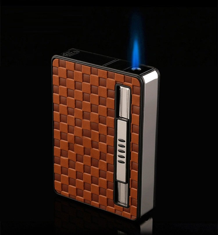 Leather Automatic Cigarette Holder Case Tobacco Box with Lighter BC385