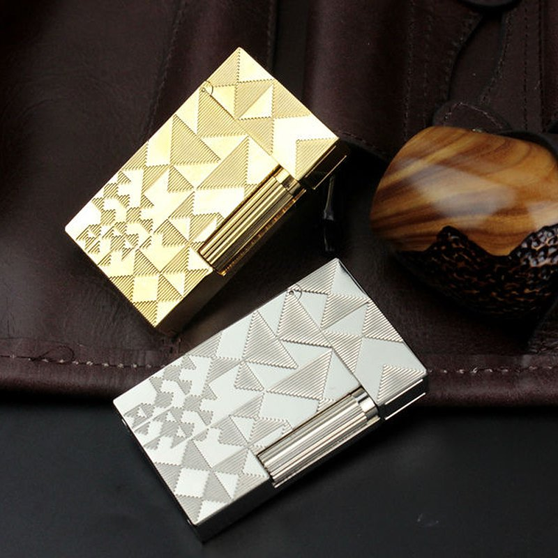 Luxury S.T Dupont Lighter Memorial Retro Trigle Pattern w/ Bright PING Sound Cigarette Drop Sh