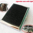 (20 cigarettes) black leather cigarette case for men and women, with windproof gas lighters BC573