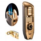 JOBON brand metal 3 jet turbine butane gas torch lighters, portable cigarette cigar knife, outd