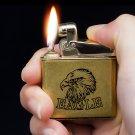 Honest genuine flint oil lighter,Bronze copper metal wheel lighter kerosene Vintage eager cigar
