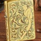 Kerosene windproof lighters cu surface etching Beautiful faery and skeleton tang grass fairy