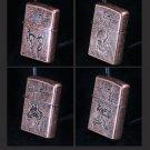 10pcs/lot Red copper oil Lighter encendedor kerosene 4kinds chooes Windproof lighter isqueiro a