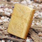 The gold-plated lighter carved on all sides around the dragon dragon universal version of light