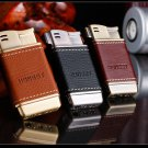Classic leather metal plasma lighter side fire design inflatable butane lighter gadgets for me